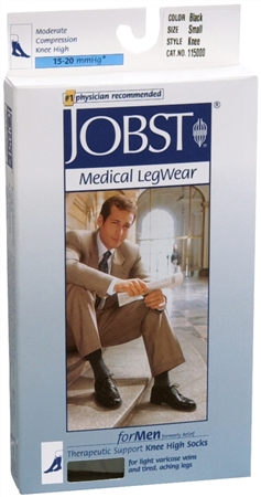 JOBST Medical LegWear For Men Knee High Socks 15-20 mmHg Bla 1198435