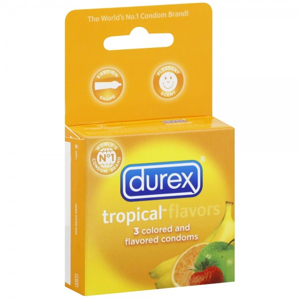 Durex Premium Lubricated Latex Condoms, Tropical Flovors 3 e 1250515