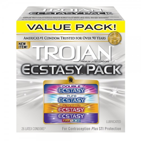 TROJAN Ecstasy Pack Lubricated Condoms 26 ea 1436095