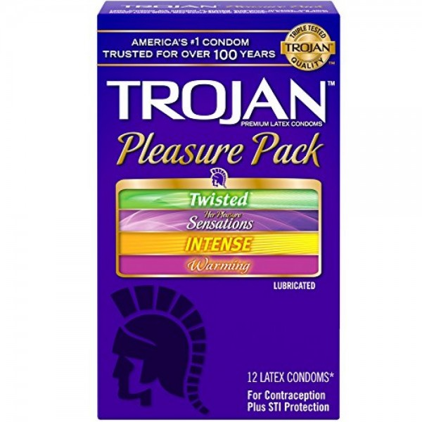 TROJAN Pleasure Pack Latex Condoms 12 Each 1248745