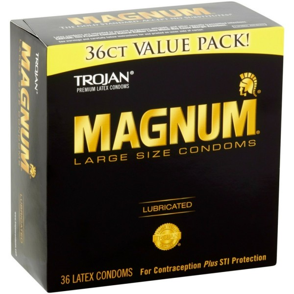 TROJAN Magnum Lubricated Latex Large Size Condoms, 36 ea 1327840