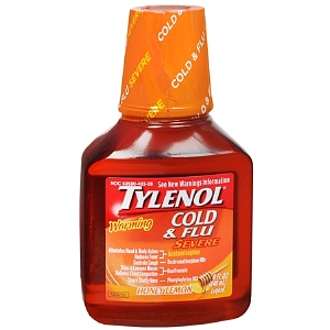 TYLENOL Cold & Flu Severe Warming Liquid Honey Lemon 8 oz 1311985