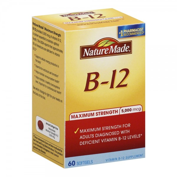 Nature Made B-12 Maximum Strength Softgels 5000 mcg 60 ea 1435985