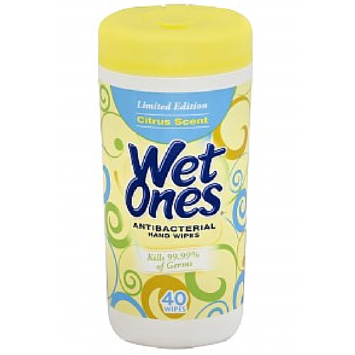 WET ONES Antibacterial Hands Wipes, Citrus 40 ea 1308575