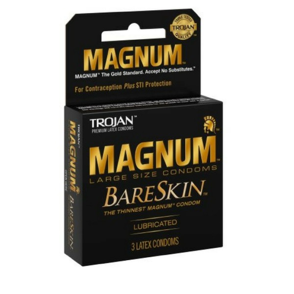 TROJAN Magnum Bareskin Lubricated Condoms 3 ea 1436050