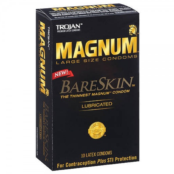 TROJAN Magnum Bareskin Lubricated Large Size Condoms 10 ea 1415340