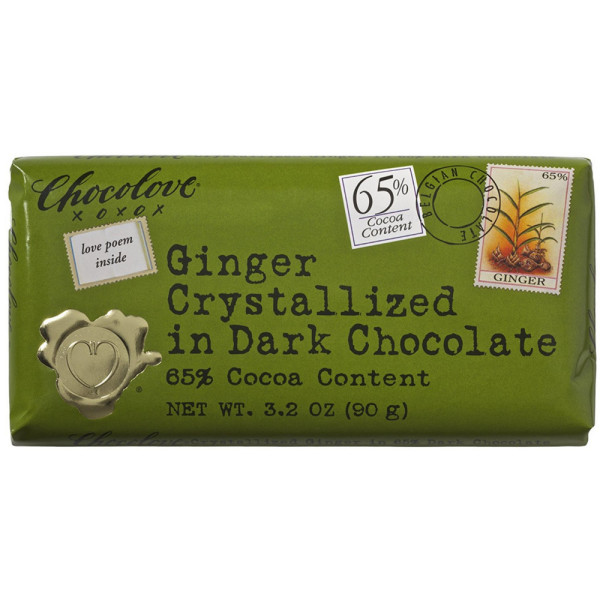 Chocolove Ginger Crystallized in Dark Chocolate, 3.2 oz bars 1529525
