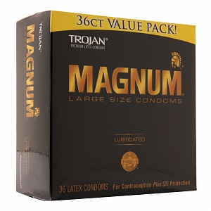 TROJAN Magnum Lubricated Latex Condoms, Large Size 36 ea 1327840