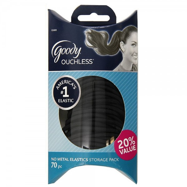 Goody Ouchless No Metal Elastics Storage Pack, Black 70 ea 1425320