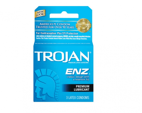 TROJAN Enz Condoms Lubricated Latex 3 Each 1254835