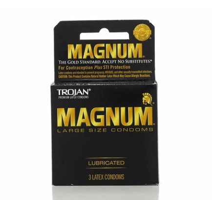 TROJAN MAGNUM Condoms Large Lubricated Latex 3 Each 1251205