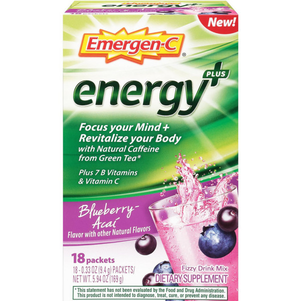 Image of Emergen-C Energy+ Fizzy Drink Mix Packets with Caffeine, Blu