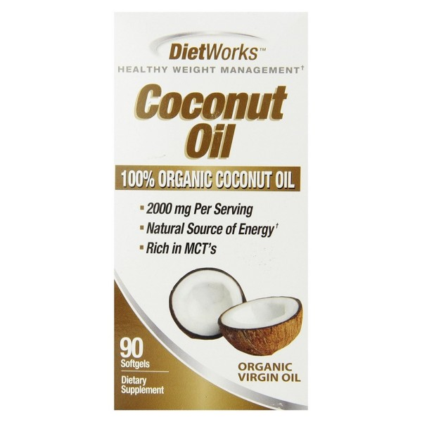 Diet Works Coconut Oil Softgels, 100% Organic Coconut Oil, R 1528975