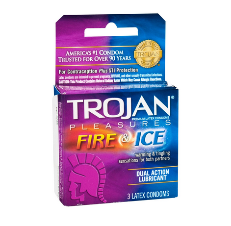 TROJAN Fire & Ice Condoms Lubricated Latex 3 Each 1254610