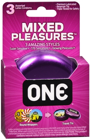 ONE Mixed Pleasures Lubricated Latex Condoms 3 Each 1254525