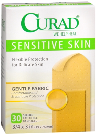 Curad Sensitive Skin Bandages One Size 30 Each 1222745