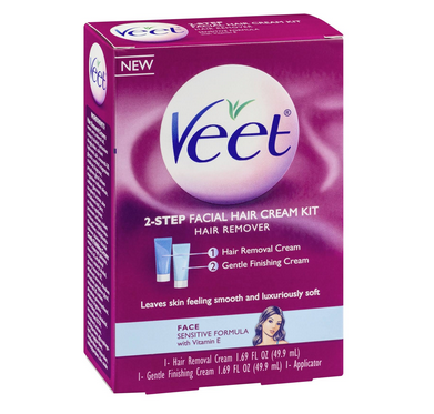 VEET 2-Step Facial Hair Cream Kit, 1 kit 1338375