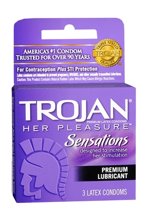 TROJAN Her Pleasure Condoms Lubricant Latex 3 Each 1256570