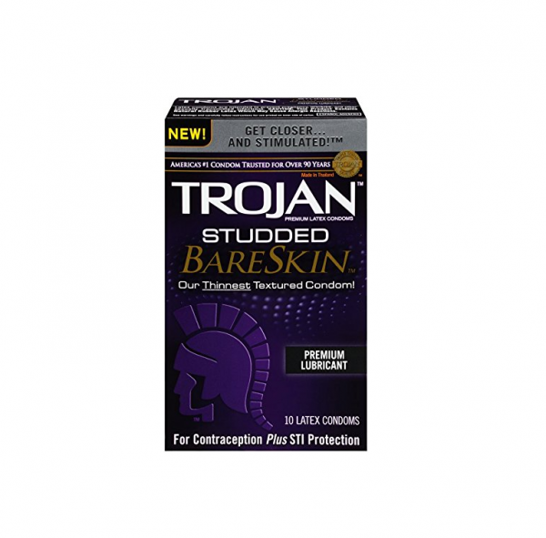 TROJAN Studded BareSkin Premium Lubricated Latex Condoms 10 1437740