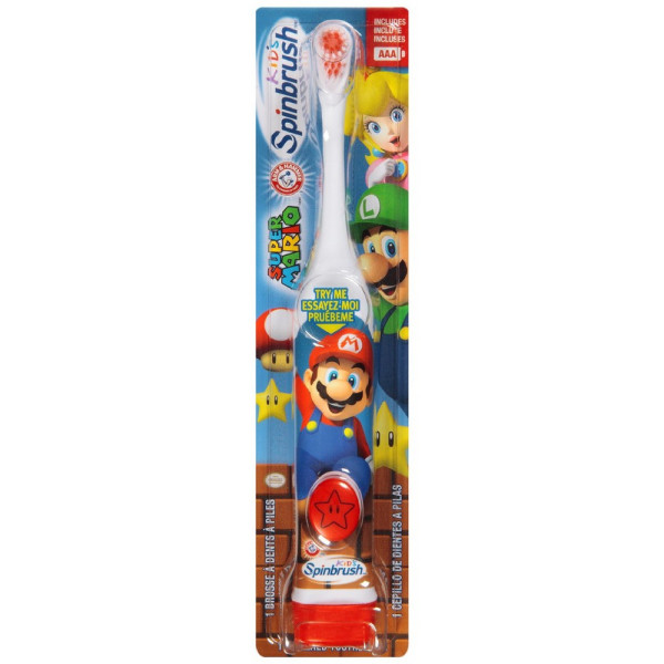 ARM & HAMMER Kid's Spinbrush Powered Toothbrush, Super Mario 1383205