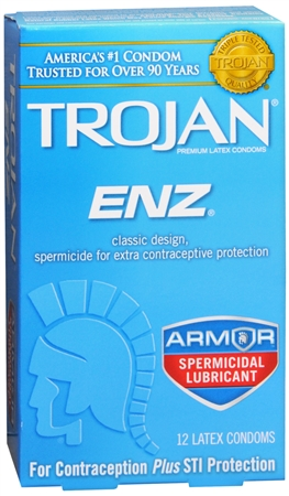 TROJAN Enz Spermicidal Latex Condoms 12 Each 1248755