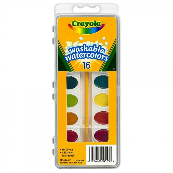 Crayola Washable Watercolors Set, 16 Assorted Colors 1 ea 1413115