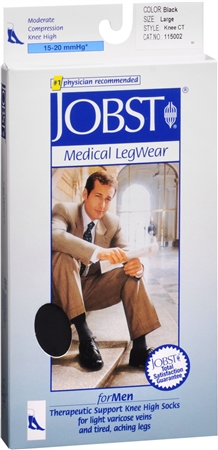 JOBST Medical LegWear For Men Knee High Socks 15-20 mmHg Bla 1198425
