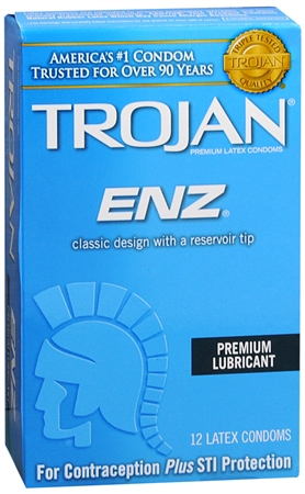 TROJAN Enz Lubricated Latex Condoms 12 Each 1248750