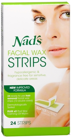 Nad's Facial Hair Removal Strips 24 Each 1173400
