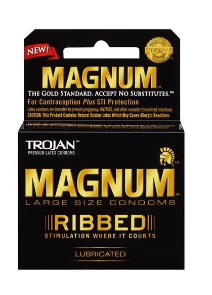 TROJAN Magnum Ribbed Lubricated Latex Condoms 3 ea 1400575