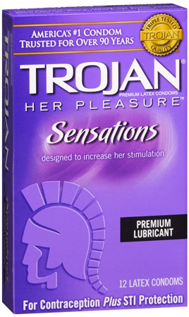 TROJAN Her Pleasure Sensations Lubricated Latex Condoms 12 E 1258045