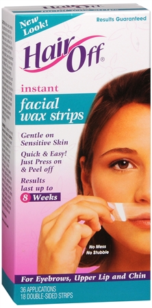HairOff Facial Wax Strips 18 Each 1173525