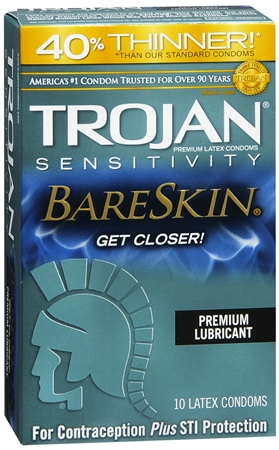 TROJAN Sensitivity BareSkin Lubricated Premium Latex Condoms 1258055