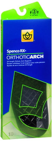 Image of Spenco RX 3/4 Length Orthotic Arch Supports Size 3 1 Pair