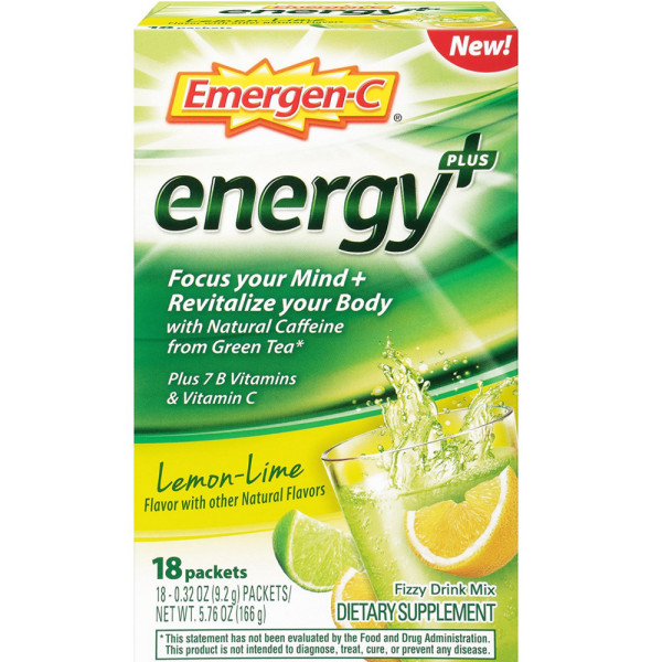 Image of Emergen-C Energy+ Fizzy Drink Mix Packets with Caffeine, Lem