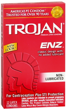 TROJAN Enz Non-Lubricated Premium Latex Condoms 12 Each 1257930