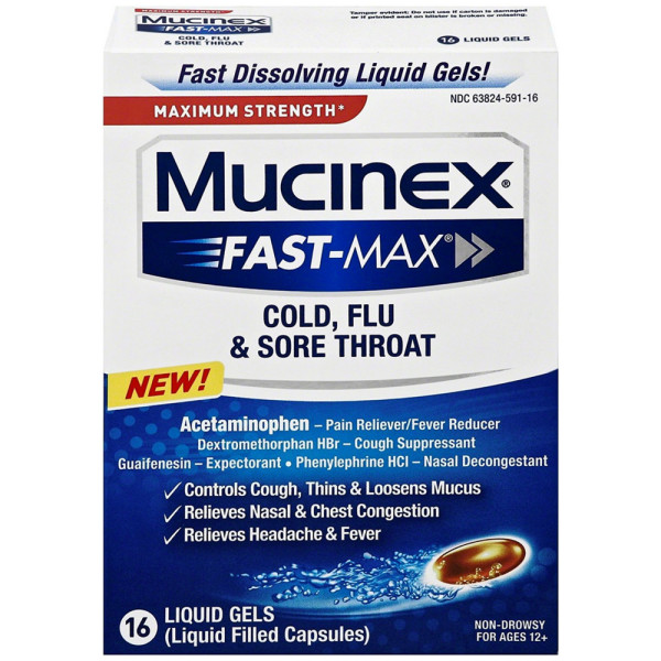 Mucinex Fast-Max Cold, Flu & Sore Throat Liquid Gels, Maximu 1488025