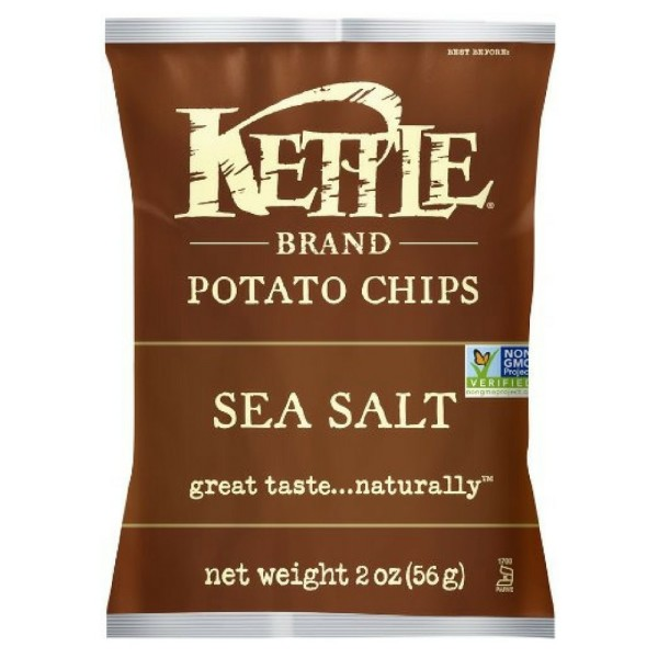Image of Kettle Brand Potato Chips, 2 oz bags, Sea Salt 24 bags