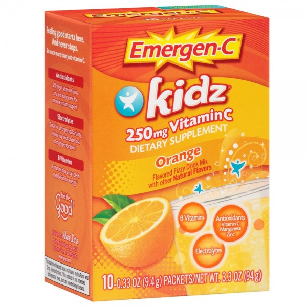Image of Emergen-C Kidz 250mg Vitamin C Flavored Fizzy Drink Mix, Ora