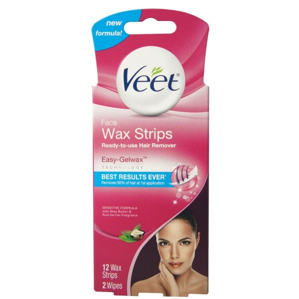 VEET Ready-To-Use-Wax-Strips Hair Remover Face 12 ea 1489405