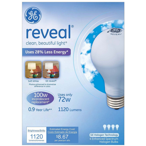 GE Lighting Reveal 72-Watt Light Bulb 4 ea 1507500