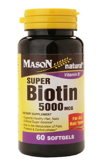 Mason Natural Super Biotin 5000 mcg, Softgels, 60 ea 1373780