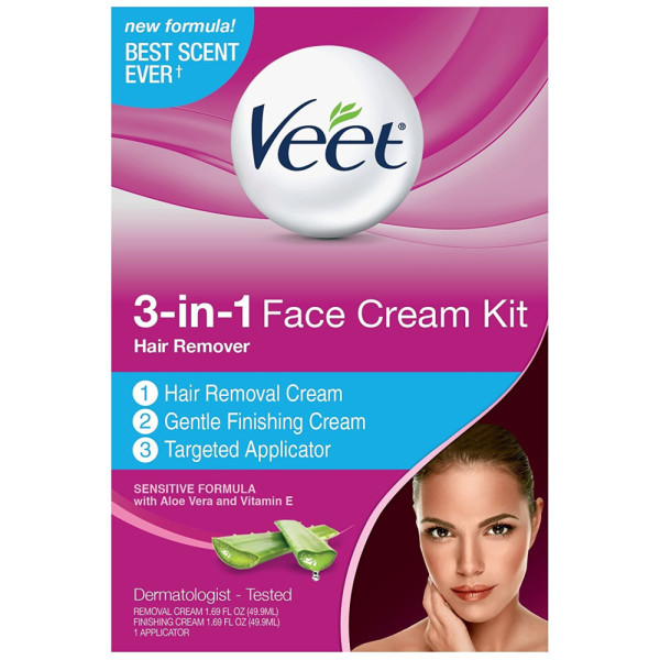 VEET 3-in-1 Face Cream Hair Remover Kit,  Sensitive Formula 1338375