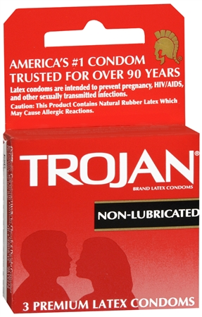 TROJAN Condoms Non-Lubricated Latex 3 Each 1256835