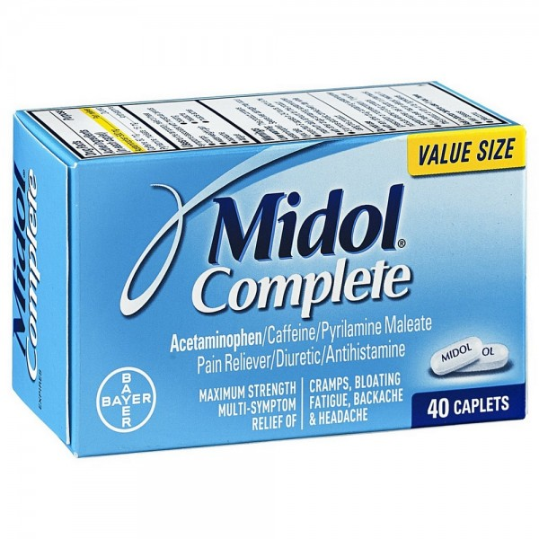 Midol Complete Maximum Strength Pain Reliever Caplets 40 ea 1420435