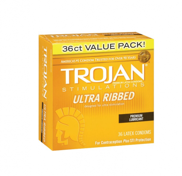 TROJAN Ultra Ribbed Stimulations Premium Lubricant Latex Con 1327850