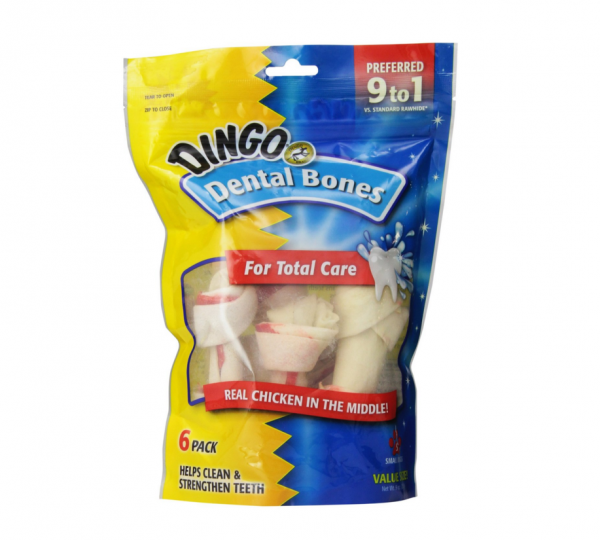 Dingo Brand Chicken & Rawhide Small Dental Bone 6 ea 1030370